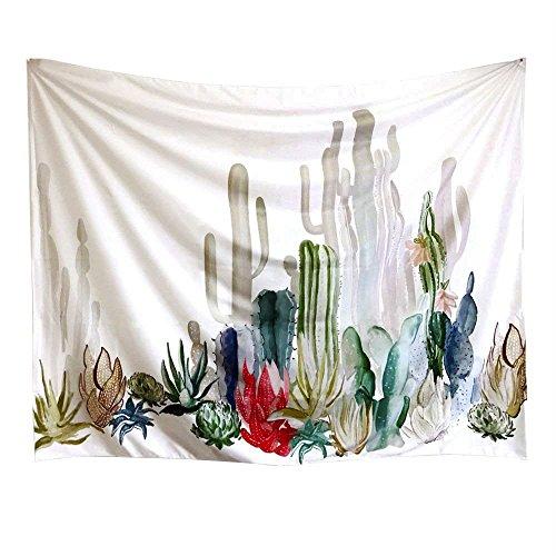 Cactus Tapisserie, Arfbear Wandbehänge gelb und grün Watercolor bedruckt natur großem Tischdecken Wand Kaktus 154,9 x 199,9 cm