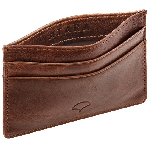 Genuine Leather Credit Card Holder Wallet & Giftbox, Walnut Brown – RFID Blocking, 5 Pockets, Slim Design