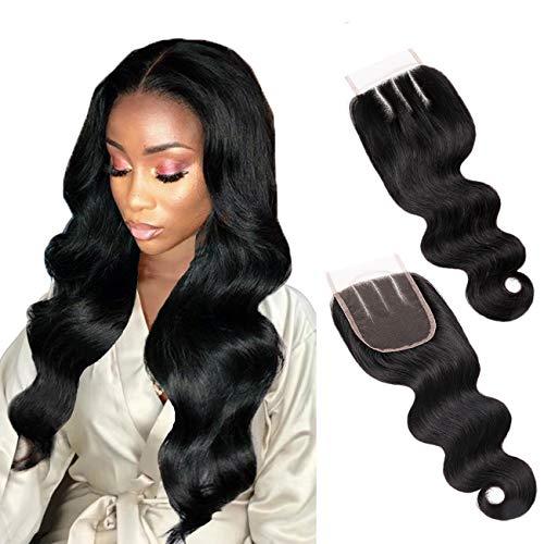 Extension di capelli umani ondulati con chiusura superiore in pizzo, colore nero naturale, 20,3-55,9 cm, 100% capelli vergine, per donna, personalizzabili
