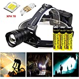 Garberiel LED Headlamp Zoom Waterproof Headlight Adjust 3 Modes Torch Light with USB Cable and Rechargerable Battery