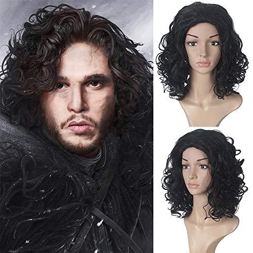 Juego de tronos Jon Snow Masculino Peluca negra Cosplay Juego de roles para adultos Disfraz de Halloween...