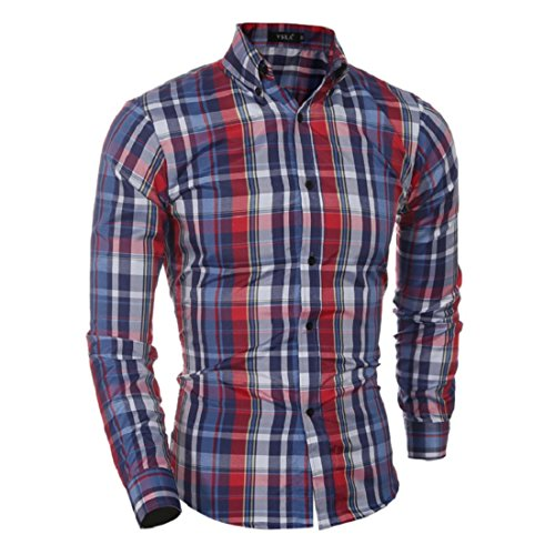 Men's Flannel Leisure Styles Long Sleeve Slim Fit Casual Shirts Red and Blue