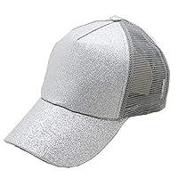 AXspeed Women Girls High Ponytail Hat Bling Glitter Messy Bun Baseball Cap Hip-Hop Sun Visor Hat (Silver)