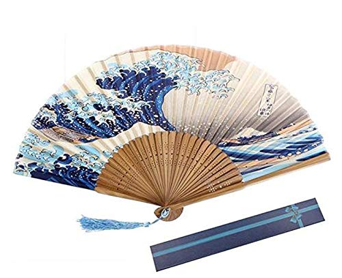 (Lsv-8 Bambus-Fächer, chinesischer Stil, Wellenmuster, Heimdekoration)