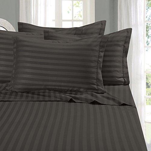 Eleganten Komfort® Falten & farbbeständige 1500Fadenzahl-Damast Streifen Ägyptische Qualität Luxuriös seidig weich 4Bettlaken Set, bis 40,6cm Tief Tasche, California King, Grau -