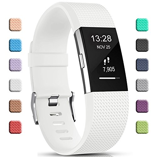 Gogoings Für Fitbit Charge2 Armband Weiß Weiches Silikon Verstellbares Ersatzarmband Sport Accessories Wristband Fitnessband Uhrenarmband für Fitbit Charge 2 Armband Damen Herren Groß