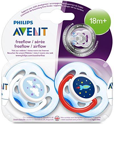 Philips Avent Freeflow Schnuller ab 18 Monate SCF186/27, Doppelpack, Jungen, Rakete & Wolken