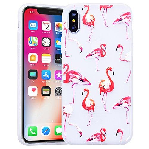 HB-Int für iPhone X Hülle Silikon Transparent Licht Durchlässig Ultra Dünn Schutzhülle Meow Muster Flexible Case Bumper Shell Handytasche Rot Flamingo