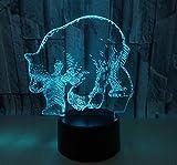 Stimmungslichter Nachttischlampe Eisbär Sieben Usb-Touch Switch 3D-Lampe Optische Täuschung Tischleuchte Dekoration Geburtstag Geschenk Zu Weihnachten Umweltschutz Schreibtischlampe.