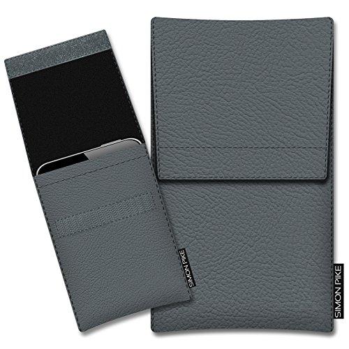 SIMON PIKE Kunstleder Tasche Sidney, kompatibel mit Siswoo A5 Chocolate, in 01 grau Kunstleder
