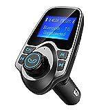 VicTsing Transmetteur FM Bluetooth Kit de Voiture Sans Fil Mains-libres Adaptateur Radio avec Ecran d'affichage de 1,44 Pouces et Chargeur Voiture USB pour iPhone 8 7 Plus SE, Galaxy, HUAWEI P9 P8,etc
