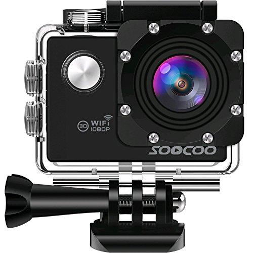 """Action Cam Unterwasserkamera Action Kamera, SOOCOO 1080P WiFi Wasserdicht Sports Kamera Cam Ultra Full HD 2"""" LCD 170°Ultra Weitwinkel 30M Wasserdicht/Unterwasserkamera Helmkamera mit 2 Batterien und kostenlose Accessoires (Micro-Karte nicht im Lieferumfang enthalten)"""