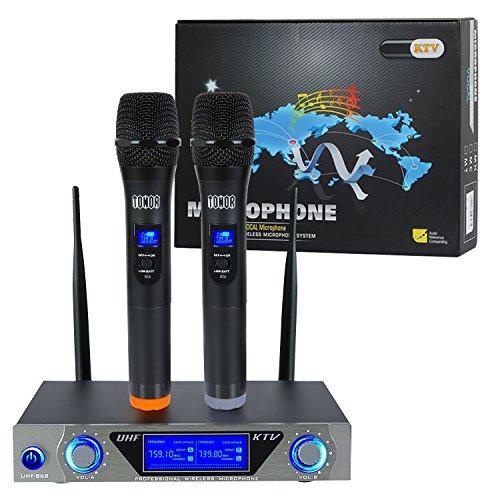 VHF Sistema de micrófono inalámbrico de mano con micrófonos dinámicos de mano dual y pantalla LCD para la reunion, la fiesta y Karaoke