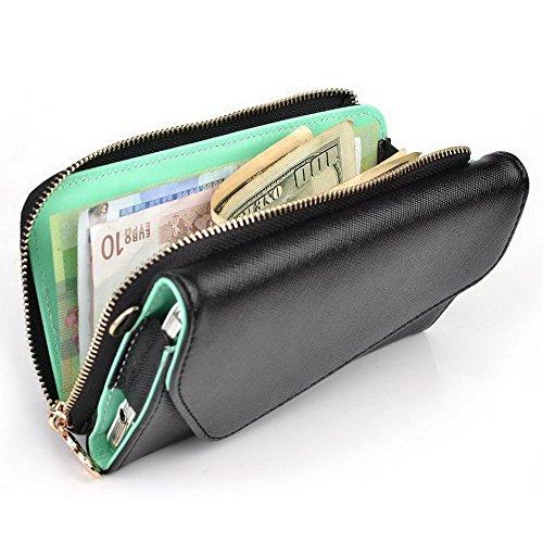 Kroo d'embrayage portefeuille avec dragonne et sangle bandoulière pour Alcatel OneTouch Hero 2+/Pop Mega Green and Pink Black and Green