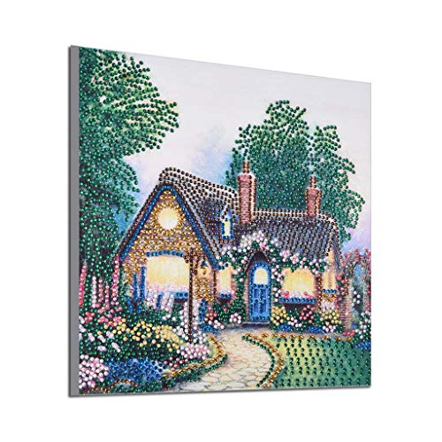 WOBANG Special Shaped 5D Teil Bohrer Diamant Malerei Kit, Kleines Dorf Stickerei Strass Kreuzstich Kunsthandwerk Leinwand Wanddekor 11,81 × 11,81 Zoll (Multicolor -A) -