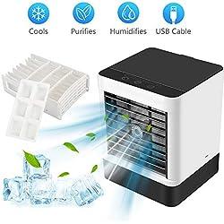 Refroidisseur D'air, mini Climatiseur Mobile Portable avec Bac à Glaçons et Filtre remplaçable, Air Cooler Ventilateur USB, Purificateur et Humidificateur pour Maison, Bureau et Extérieur