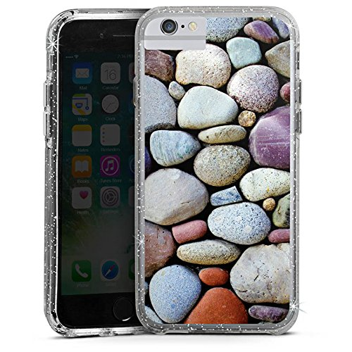 Apple iPhone 6 Plus Bumper Hülle Bumper Case Glitzer Hülle Kieselsteine Steine Stones Bumper Case Glitzer silber