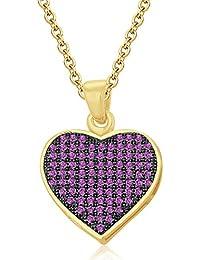 Silvernshine LADIES 10K Yellow GOLD FN PINK SAPPHIRE SIM DIAMOND LOVE HEART SHAPE PENDANT NECKLACE