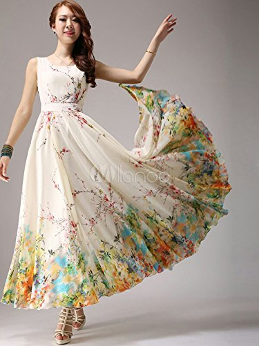 Jil Creation Women\'s Princess Crepe Chiffon Floral Printed Party ...