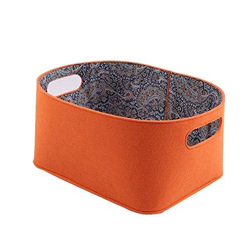 FHQSX Filz Container Wäschekorb Wäschesammler Aufbewahrungstasche für Wäsche Kleidung Spielzeug, Groß Orange -