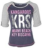 KangaROOS Damen 3/4-Arm Shirt Silber Print Blau Grau 38 -Miami Beach Key Biscayne-