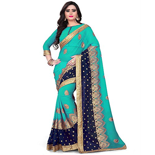 Siddeshwary Fab Womens sky Blue Georgette Saree With Blouse Piece