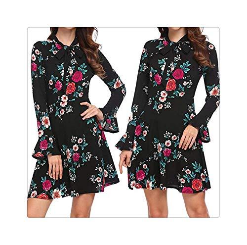 Dress Fashion Women Flare Long Sleeve O-Neck Bow Dress Floral Printed Mini Flare Sleeve Dress Women 2018AUG13 Navy Blue XL