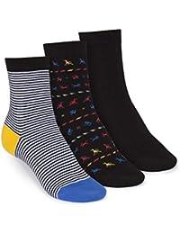 ThokkThokk 3er Pack Mid-Top Socken B&W Striped/Tijuana/Black GOTS Fairtrade