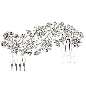 Tinksky Accessori per capelli da sposa fiore strass capelli pettine