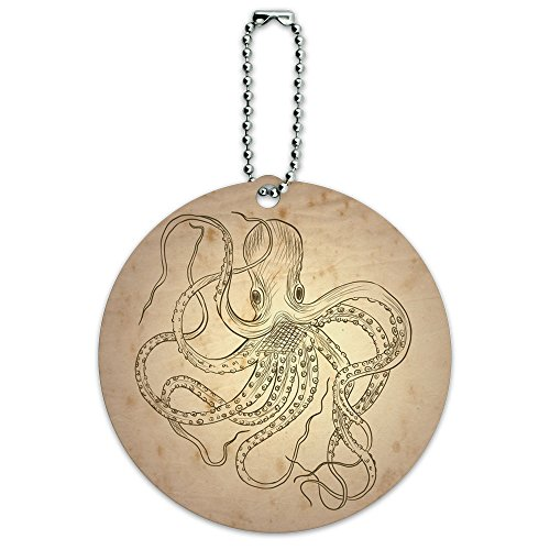 Vintage Tinte Drawn Octopus rund Gepäck ID-Tag-Koffer - Octopus Koffer
