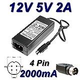 TOP CHARGEUR ® Netzteil Netzadapter Ladekabel Ladegerät 12V 5V 2A 4 Pin für Festplatte Storex-CLUB MPIX-355