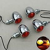 TUINCYN Silber Motorrad Mini Blinker Leuchtanzeige Lampen Vorne