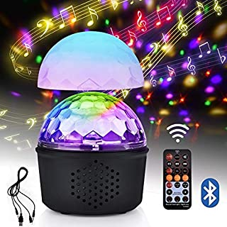 Party Disco Ball Light, AUSHEN Wireless Bluetooth Speaker 15W 9 Colors LED Magic Rotating Ball Disco Lights Mini Night Light with USB Charging and Remote Control, Sound Activated Strobe Light