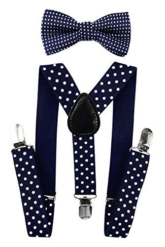 axy Hochwertige Kinder Hosenträger-Y Form mit Fliege- 3 Clips Extra STARK-Uni Farben (Schwarzblau-Weiß-Punkte)
