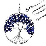 JOVIVI Edelstein Chakra-Anhänger Baum des Lebens Anhänger Pandent mit 56cm Kette,Lebensbaum Halskette für Damen Herren (Lapislazuli)