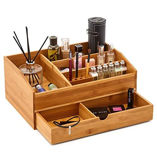 EZOWare Große Schmink Aufbewahrung Kosmetik Organiser aus Bambus-Holz mit Schublade, Mulifunktionale Halter Box für Make-up, Schönheits Produkten, Bad, Schminktisch, Büro und mehr (Geteilt Bad-organizer)