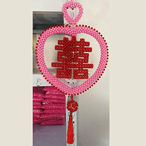 shunlidas Home Deko Dekoration Schlafzimmer Figurinewohnaccessoires, Handgefertigte Liebe, Hochzeitsgeschenke, Hochzeitszimmer, Dekorationen, Wohndekorationen, Pink Ribbon Pendant, 33 * 40 -