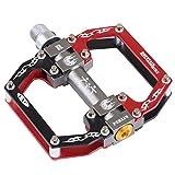 TXJ In-Mold Alluminio Cuscinetto Pedale Della Bicicletta per Bici da Strada/ Bicicletta a Scatto Fisso/MTB (nero/rosso mescolato), 2 pezzi