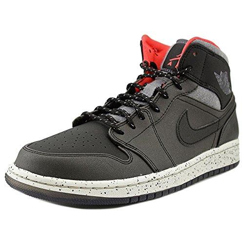 Nike Herren Air Jordan 1 Mid Fitnessschuhe, Schwarz/Grau/Weiß/Rot (Blk/Drk Gry-Lght Infrrd Bn-23), 42.5 EU (Und Jordans Grau Schwarz Air)