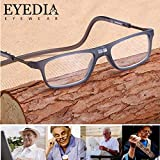 4 Styles Upgraded Unisex Magnetic Reading Glasses Men Women Adjustable Hanging Neck Reading Eyeglasses Front Connect with Magnet : +150, NO.3-055 Leopard