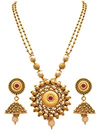 JFL - Traditional And Ethnic One Gram Gold Plated Designer Necklace Set With Earring For Women & Girls
