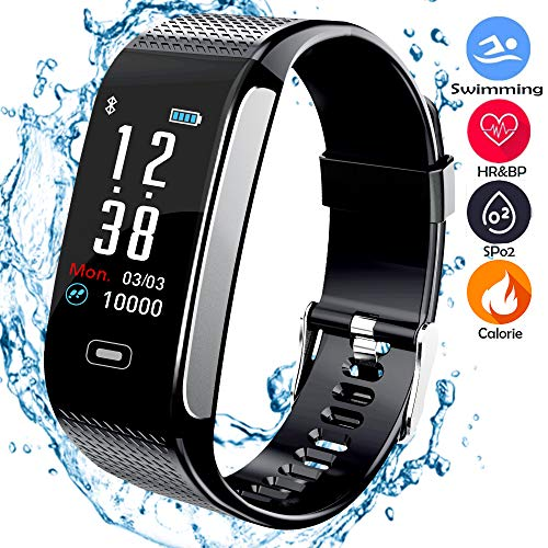 beaulyn Fitness Trackers with 7 Sport Mode Pedometer Heart Rate Blood Pressure Monitor Activity Tracker Watch Bluetooth IP67 Waterproof Color Screen for Android and IOS phones Kids Men Women