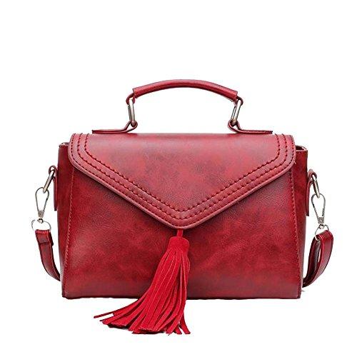 Sac Cartable Sac À Main Et En Bandoulière Pour Femme Sac Vintage Sac Porté Sacs Bandouliere Grau Rouge