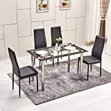 Moderno tavolo da pranzo piano in vetro temperato nero da cucina tavolo rettangolare con gambe in metallo, stile contemporaneo, soggiorno tavolo 4/6/8persone uso Chrome Leg Table