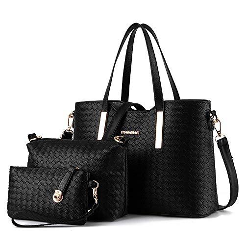 Damen-Handtaschen-Set aus PU-Leder mit geflochtenem Design, 3-teiliges Set, Schwarz - Schwarz  - Größe: 33 EU