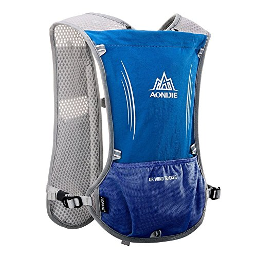 Imagen de aonijie ligero al aire libre agua hidratación  senderismo ciclismo bolsa de deporte con botella soporte para bolsa de agua 1.5l, azul
