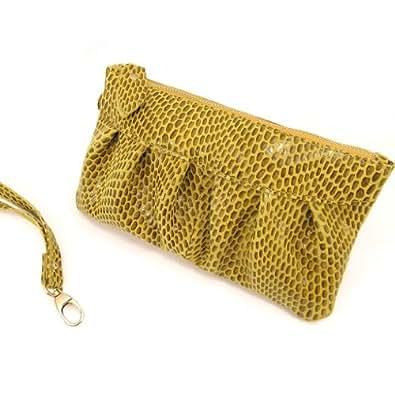 Les Trésors De Lily [K7627] - Sac pochette cuir 'Scarlett' moutarde