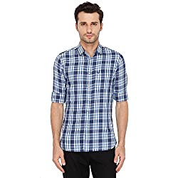 Allen Solly Mens Checkered Slim Fit Casual Shirt (AMSF318G00289840_Navy with Yellow)