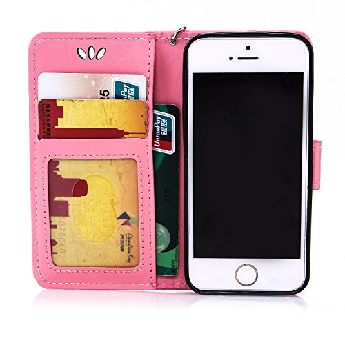 Cozy Hut® Ultra Schlank Folio Handyhülle / für iPhone 5 / 5S / SE Cover / Case / Bumper Hülle Schutzhülle / Rückdeckel Schutzhülle / Handy Hülle / Ultra-thin soft shell / Strass Bräunung Stil Blau Gol rosa