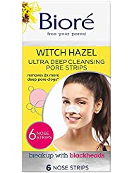 Biore Ultra Deep Cleansing Pore Strips for Blackhead Removal, Pack of 6 Nose Strips